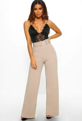 98bd635ae39d Pink Boutique Wall Street Sinner Taupe Belted High Waisted Wide Leg Trousers