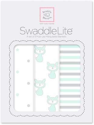 Swaddle Designs SwaddleLite, Little Fox Lite (Set of 3 in Pastel SeaCrystal)