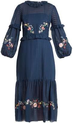 Vilshenko Adeline floral embroidered dress