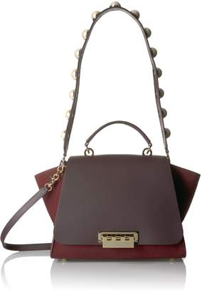 Zac Posen Eartha Iconic Soft Top Handle-Suede and Pearl Strap