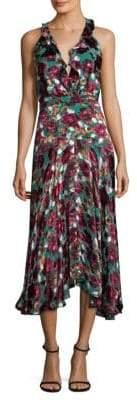 Saloni Rita Satin Devore Fit-&-Flare Dress