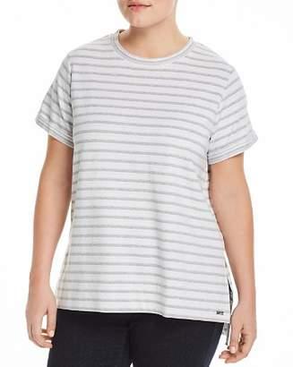 Andrew Marc Plus Stripe-Print Short-Sleeve Top