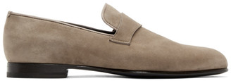 Brioni Taupe Suede Penny Loafers