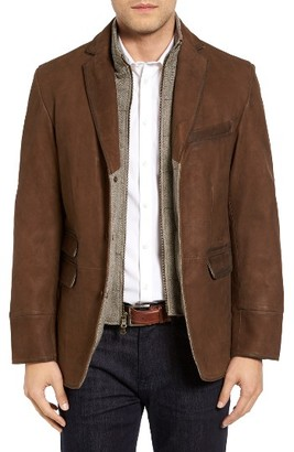 Men's Flynt Three-Button Leather Hybrid Sport Coat $695 thestylecure.com