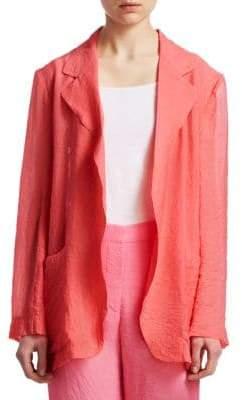 Victoria Beckham Women's Crinkled Blazer - Neon Coral - Size UK 14 (10)