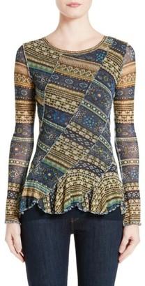 Women's Fuzzi Jewel Print Peplum Hem Top $395 thestylecure.com