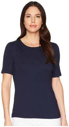Three Dots 9 Sleeve Crew Women's Short Sleeve Pullover