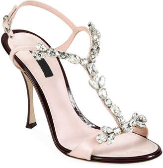 Dolce & Gabbana Jeweled Satin Y-Strap Sandals