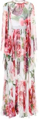 Dolce & Gabbana Peony Print Silk Dress
