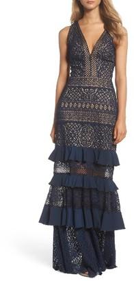 Women's Tadashi Shoji V-Neck Tiered Gown $588 thestylecure.com