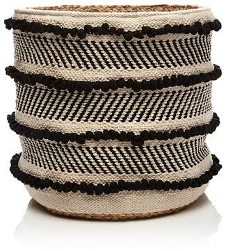 Britannica Hand-Woven Jute-Detail Cotton Basket, Medium - 100% Exclusive
