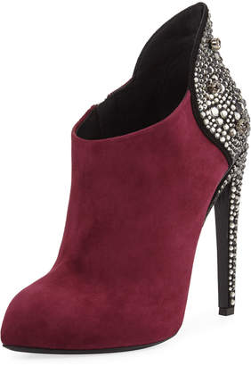 Giuseppe Zanotti Bimba Suede and Crystal 110mm Bootie