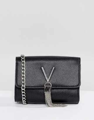 Mario Valentino Valentino By Valentino by Divina foldover tassel detail cross body bag in black