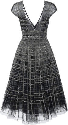 Pamella Roland Linear Crystal Embellished V-Neck Cocktail Dress
