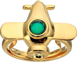 Kenneth Jay Lane Women's Airplane w/Emerald Center Adjustable Ring