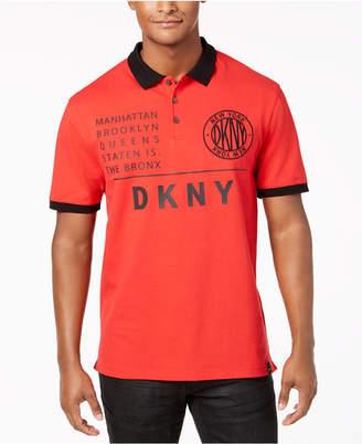 DKNY Men's Patch & Shoulder Borough Logo Polo Shirt, Created for Macy's