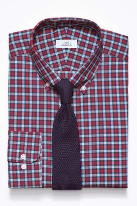 Next Mens Red Check Slim Fit Shirt And Knitted Tie Set