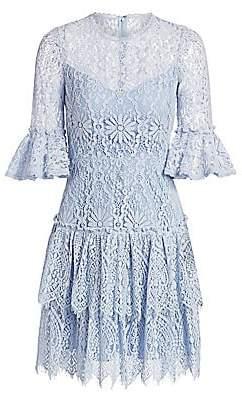 ML Monique Lhuillier Women's Tiered Lace Bell-Sleeve Dress