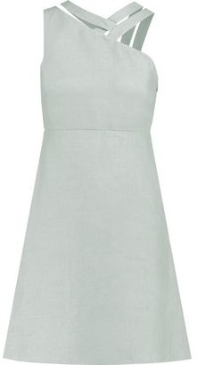 Valentino Cutout Woven Flax Dress
