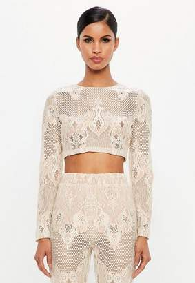 65f91a5face68 at Missguided · Missguided Nude Lace Long Sleeve Crop Top