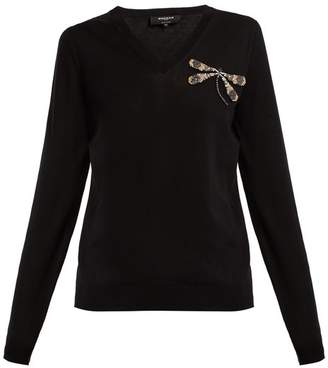 Rochas Dragonfly-embellishment fine-knit cotton sweater