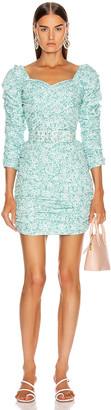 Nicholas Crossover Gathered Dress in Aqua Shadow Multi   FWRD