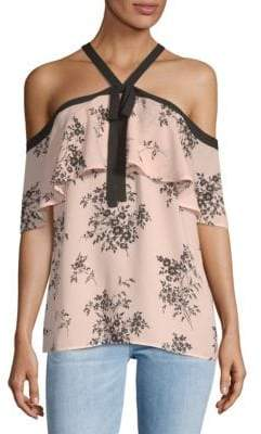 Vince Camuto Printed Cold Shoulder Blouse
