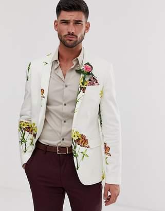 Asos Design DESIGN wedding skinny blazer with white based floral