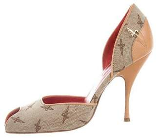 Cesare Paciotti Canvas Peep-Toe Pumps