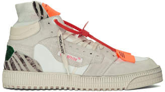 Off-White White and Green Glitter Off-Court 3.0 Sneakers