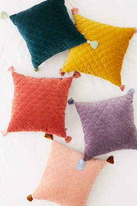 Quilted Velvet Tassel Throw Pillow