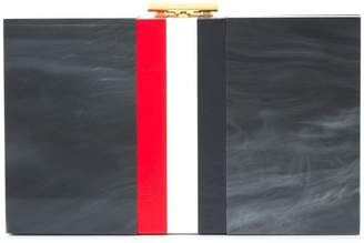 Thom Browne Three-color plexiglass with calfskin striped box-like bag
