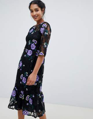 Closet London 3/4 sleeve embroidered midi dress