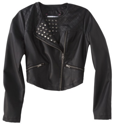 Xhilaration Junior's Studded Faux Leather Jacket -Black