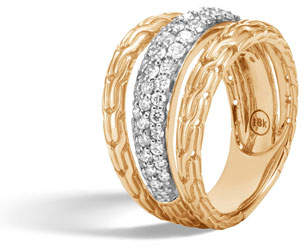 John Hardy Classic Chain Wave Hammered Wide 18K Gold Diamond Ring, Size 7