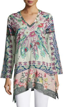 Johnny Was Tribeca Long-Sleeve Floral Tunic, Multi $159 thestylecure.com