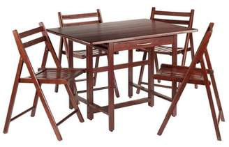 Winsome Trading Taylor 5-Pc Set Drop Leaf Table w/ 4 Folding Chairs