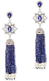QVC Gemstone Tassel Drop Earrings, Sterling Silver