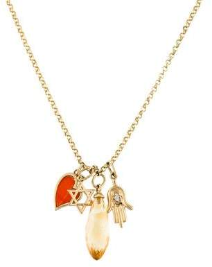 M2 Design by Mary Margrill Diamond, Carnelian & Citrine Charm Necklace
