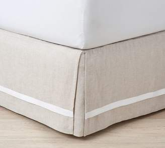 Pottery Barn Belgian Flax Linen Contrast Flange Bed Skirt - Natural Linen