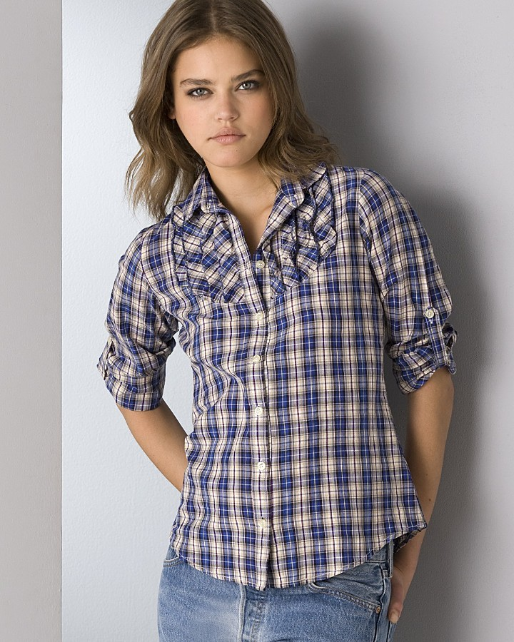 Aqua Plaid Cotton Shirt