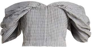 Jonathan Simkhai Off The Shoulder Gingham Cropped Top - Womens - Blue White