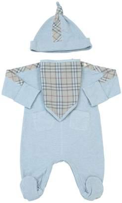Burberry Cotton Jersey Romper, Bib & Bag