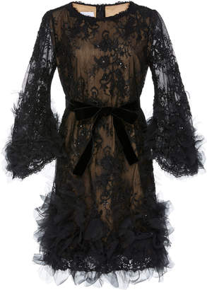 Marchesa Ruffle-Trimmed Sequined Lace Mini Dress