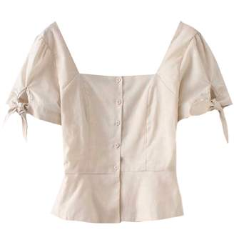 Goodnight Macaroon 'Eliana' Linen Button Front Tied Sleeve Top (2 Colors)
