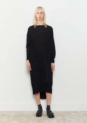 Y's Knit Diagonal Panel Dress Black