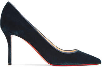 Christian Louboutin Decoltish 85 Grosgrain-trimmed Velvet Pumps - Petrol