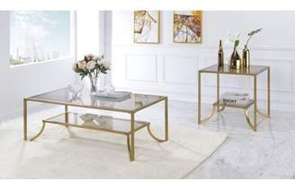 ACME Furniture Acme Magalie Coffee Table in Antique Gold and Smoky Glass