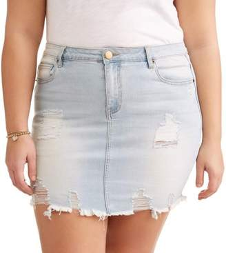 Dh by Dollhouse Juniors' Plus Destructed Mini Skirt with Frayed Hem