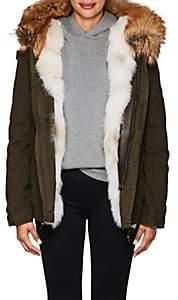 Mr & Mrs Italy Women's Fur-Trimmed Canvas Coat - Dk. Green